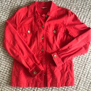 Red cabi jacket with ruffle back